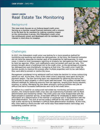 IFP_Case-Study_Credit Union Real Estate Tax Monitoring_Cover